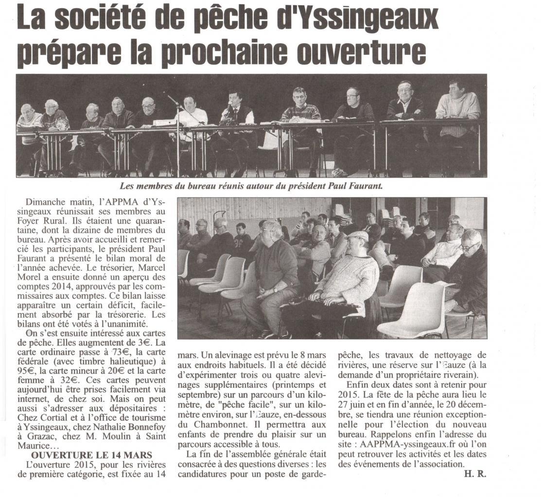 Article de Presse L'Eveil AG 2015
