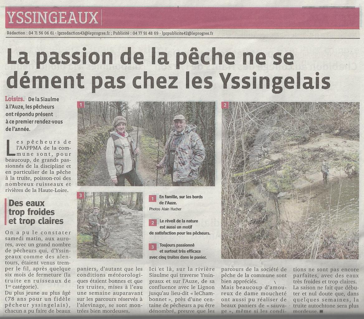 Ouverture de la pêche à Yssingeaux, le samedi 14 Mars 2015