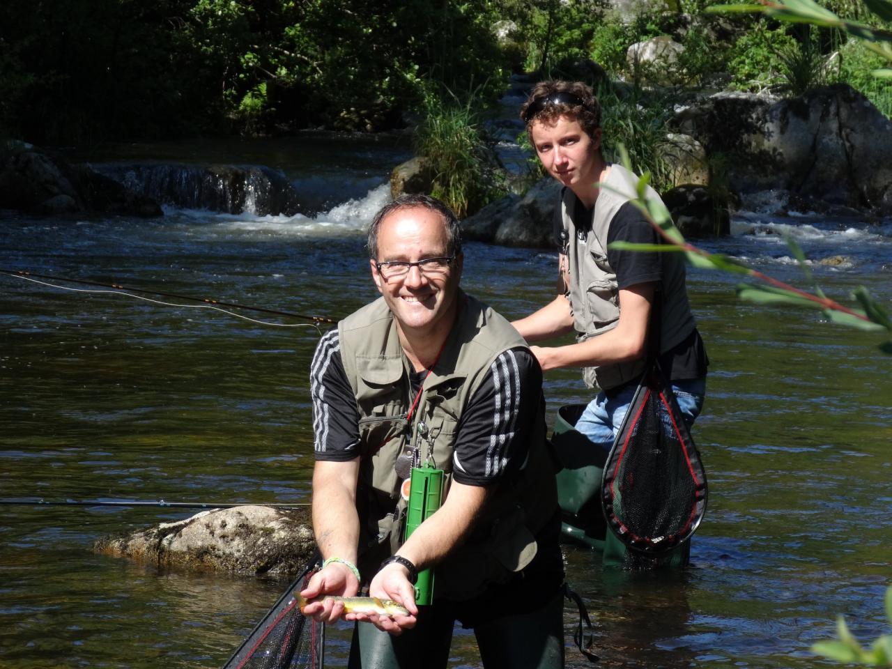 René et Florian au bord du Lignon