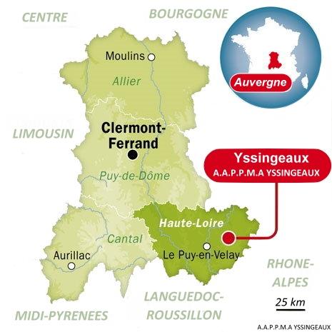 Situation géographique de l'A.A.P.P.M.A. Yssingeaux